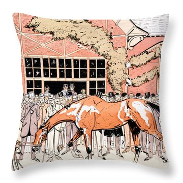 Viewing The Racehorse In The Paddock Throw Pillow by Thelem