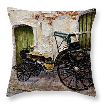 Throw Pillow featuring the painting Vigan Carriage 2 by Joey Agbayani
