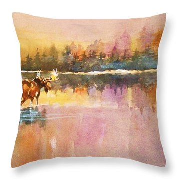 Vigil In The Shallows At Sunrise Throw Pillow