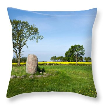 Throw Pillow featuring the photograph Viking Age Runic Stone by Kennerth and Birgitta Kullman