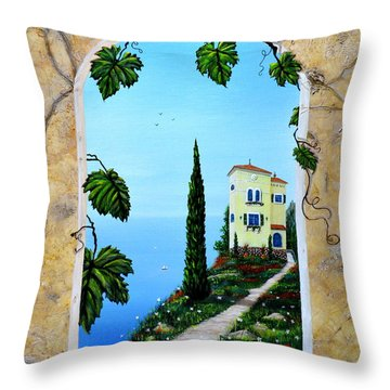Throw Pillow featuring the painting Villa By The Sea by Mary Scott