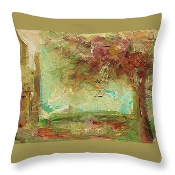 Throw Pillow featuring the painting Villa by Mary Wolf