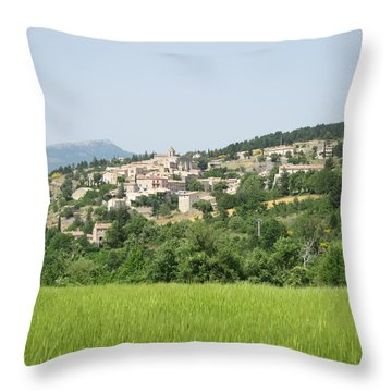 Village Beyond The Wheat Field Throw Pillow by Pema Hou