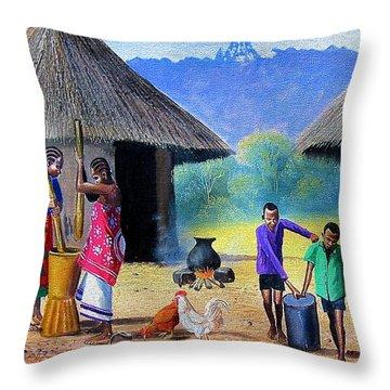 Village Chores Throw Pillow