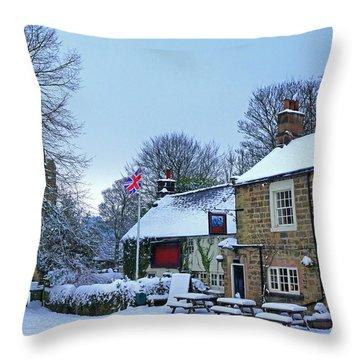 Village Church And Pub Throw Pillow by David Birchall