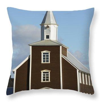 Village Church Of Eyrarbakki Throw Pillow by Michael Thornton