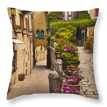Village Flowers Throw Pillow by Sharon Foster