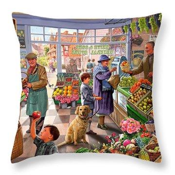 Village Greengrocer  Throw Pillow by Steve Crisp