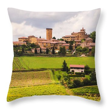 Village In French Countryside Throw Pillow by Allen Sheffield