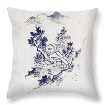 Village In The Mountains Throw Pillow by Aged Pixel