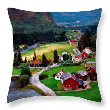 Throw Pillow featuring the painting Village In The Mountains by Bruce Nutting