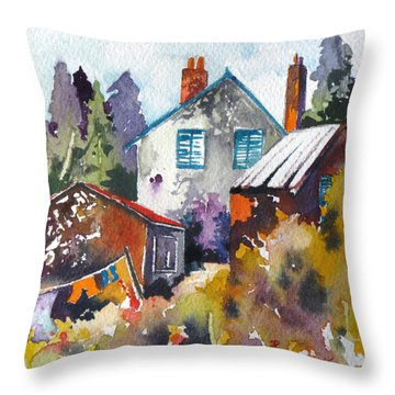 Throw Pillow featuring the painting Village Life 1 by Rae Andrews