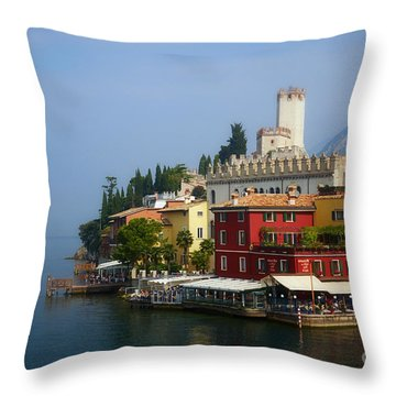 Village Near The Water With Alps In The Background  Throw Pillow by Nick  Biemans