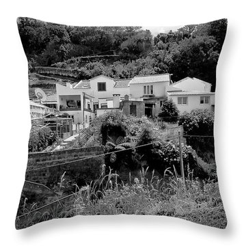 Village Nestled In The Hills  Throw Pillow