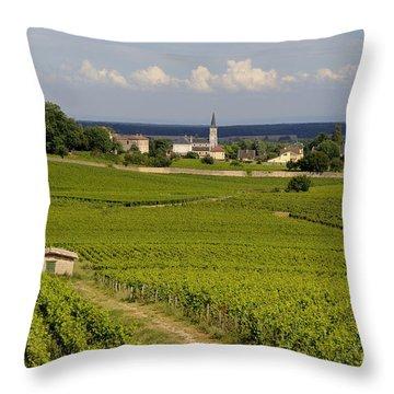 Village Of Aloxe Corton. Cote D'or. Burgundy. France Throw Pillow by Bernard Jaubert