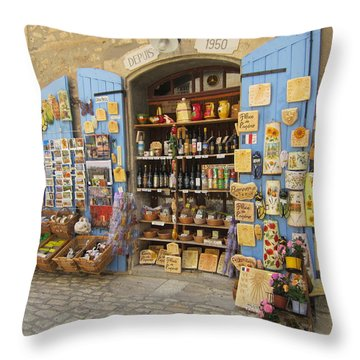 Throw Pillow featuring the photograph Village Shop Display by Pema Hou