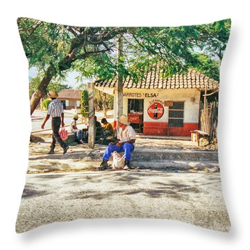 Village Street Scene Throw Pillow