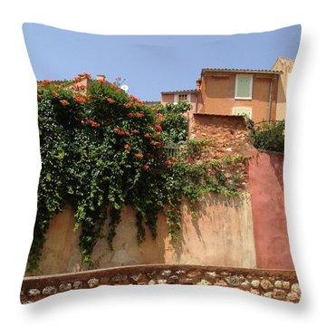 Village Vista Roussillon France Throw Pillow by Pema Hou