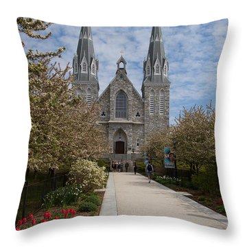 Throw Pillow featuring the photograph Villanova University Main Chapel  by William Norton