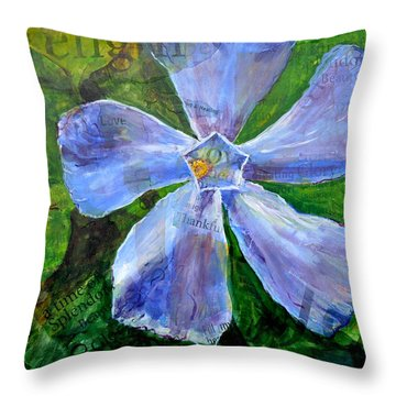 Throw Pillow featuring the painting Vinca Joy by Lisa Fiedler Jaworski