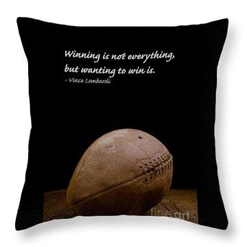 Vince Lombardi On Winning Throw Pillow by Edward Fielding