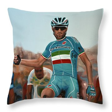 Vincenzo Nibali Painting Throw Pillow by Paul Meijering