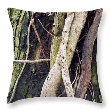 Vine Covered Tree Throw Pillow
