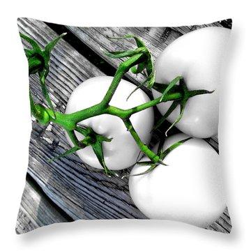 Vine Ripened Trio - Glossy White Throw Pillow by Shawna Rowe