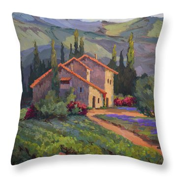 Vineyard And Lavender In Provence Throw Pillow