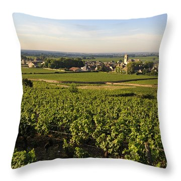 Vineyard And Village Of Pommard. Cote D'or. Route Des Grands Crus. Burgundy.france. Europe Throw Pillow by Bernard Jaubert