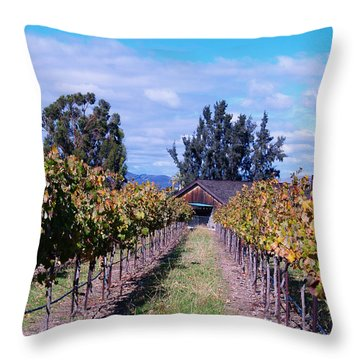 Livermore - Vineyard Barn Throw Pillow by Haleh Mahbod