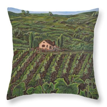 Vineyard In Neuchatel Throw Pillow by Felicia Tica