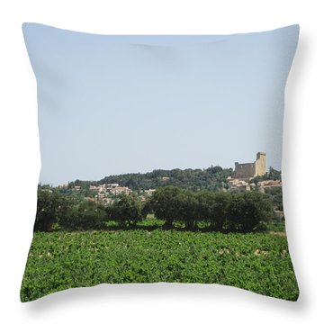 Vineyard In Provence Throw Pillow by Pema Hou