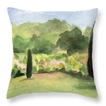Vineyard In Provence Watercolor Paintings Of France Throw Pillow