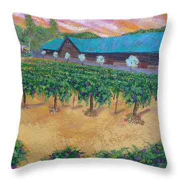 Vineyard Sunset Throw Pillow by Scott Phillips