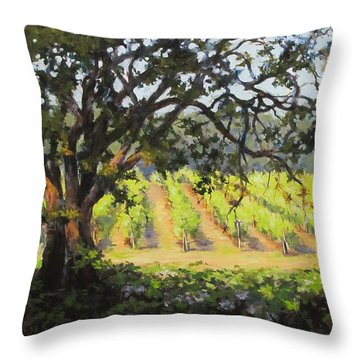 Vineyards Edge Throw Pillow by Karen Ilari
