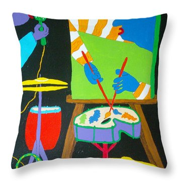 Vinny And The Van Goes Three Throw Pillow by Pamela Allegretto