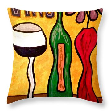 Vino Throw Pillow by Chrissy  Pena
