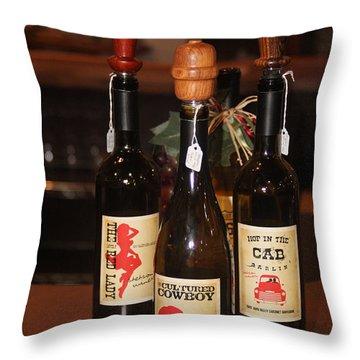 Vino Throw Pillow by Valerie Loop