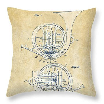 Vintage 1914 French Horn Patent Artwork Throw Pillow by Nikki Marie Smith