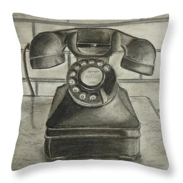 Throw Pillow featuring the drawing Vintage 1940's Telephone by Kelly Mills