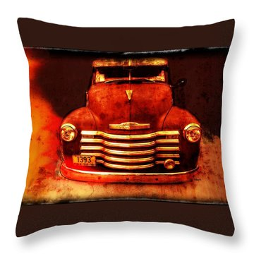 Vintage 1950 Chevy Truck Throw Pillow by Rebecca Korpita