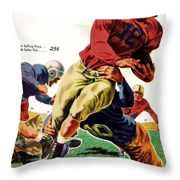 Vintage American Football Poster Throw Pillow