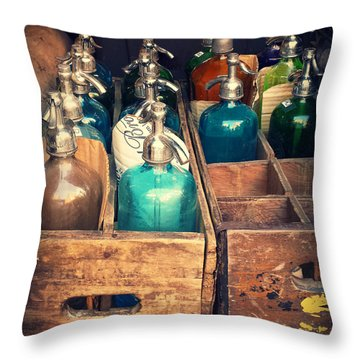 Vintage Antique Seltzer Bottles Throw Pillow by Miriam Danar