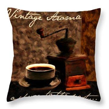 Vintage Aroma Throw Pillow by Lourry Legarde