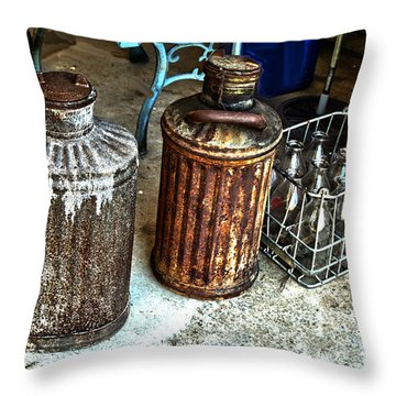Hdr Vintage Art  Cans And Bottles Throw Pillow