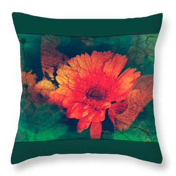 Vintage Aster Throw Pillow by Sherry Flaker