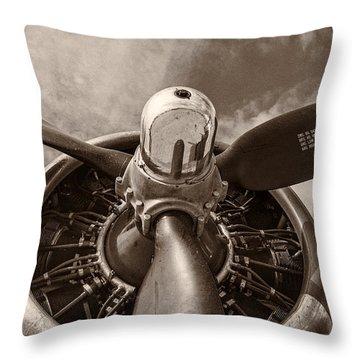 Vintage B-17 Throw Pillow by Adam Romanowicz
