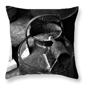 Throw Pillow featuring the photograph Vintage B/w Galvanized Container by Lesa Fine