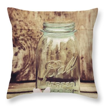 Vintage Ball Mason Jar Throw Pillow by Terry DeLuco
